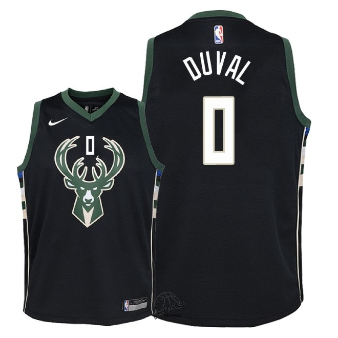 Choisir Maillot NBA Enfant Milwaukee Bucks NO.0 Trevon Duval Noir Statement 2018-19