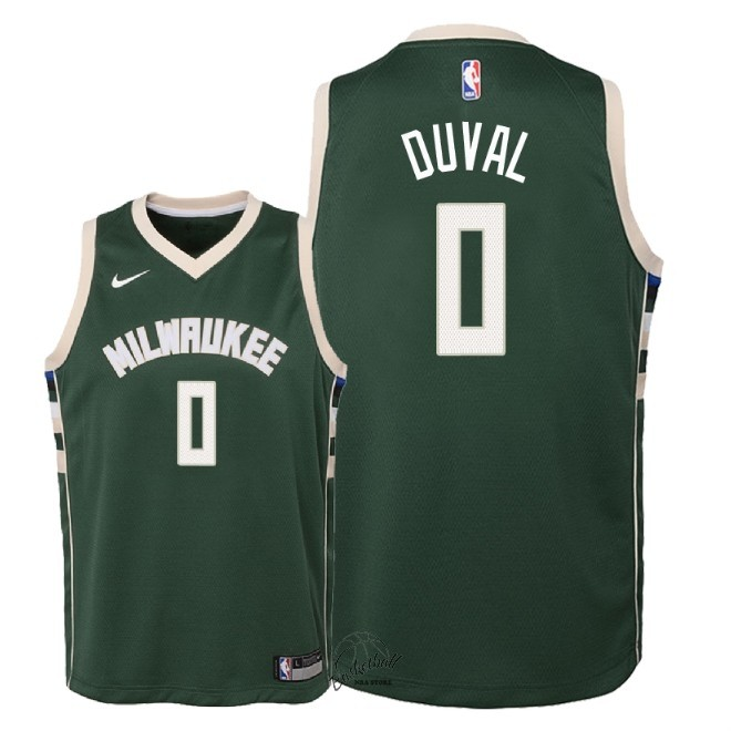 Choisir Maillot NBA Enfant Milwaukee Bucks NO.0 Trevon Duval Vert Icon 2018-19