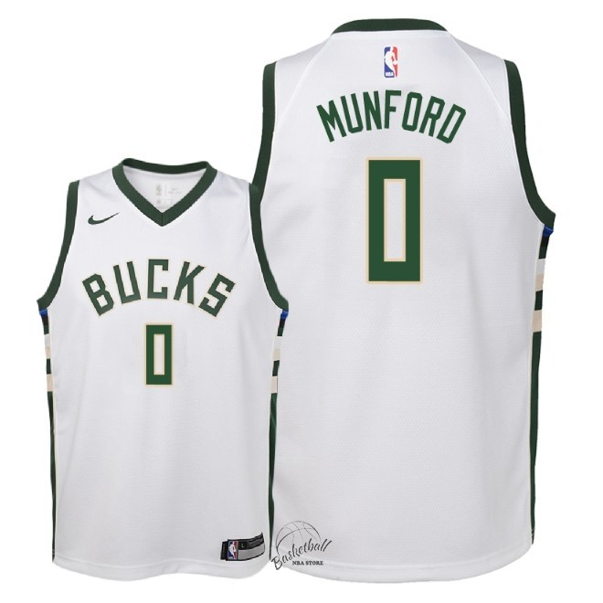 Choisir Maillot NBA Enfant Milwaukee Bucks NO.0 Xavier Munford Blanc Association 2018