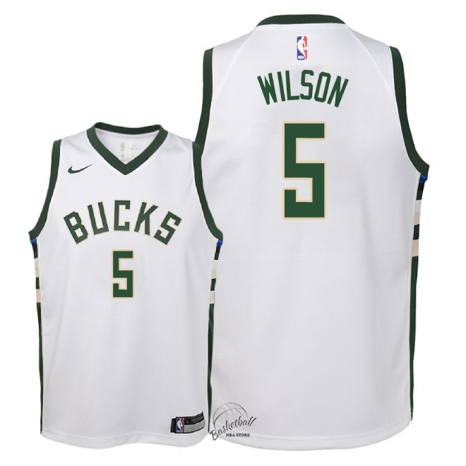 Choisir Maillot NBA Enfant Milwaukee Bucks NO.5 D.J. Wilson Blanc Association 2018