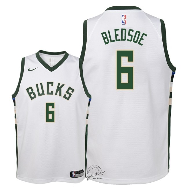 Choisir Maillot NBA Enfant Milwaukee Bucks NO.6 Eric Bledsoe Blanc Association 2018