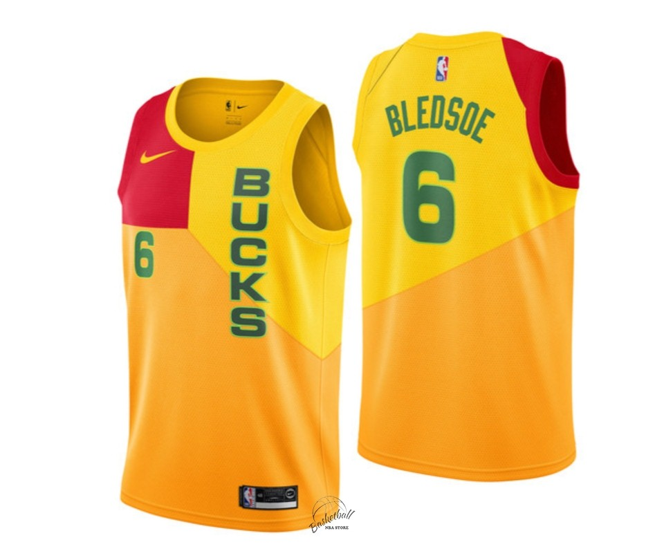 Choisir Maillot NBA Enfant Milwaukee Bucks NO.6 Eric Bledsoe Nike Jaune Ville 2018-19