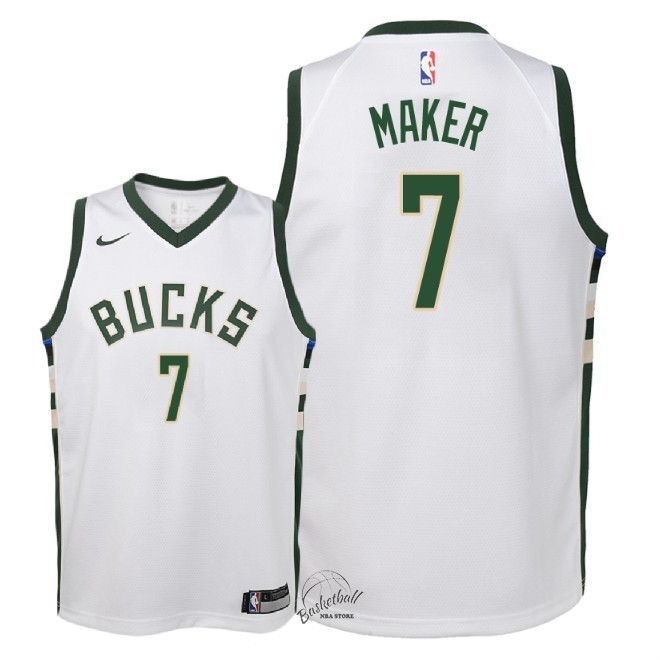 Choisir Maillot NBA Enfant Milwaukee Bucks NO.7 Thon Maker Blanc Association 2018