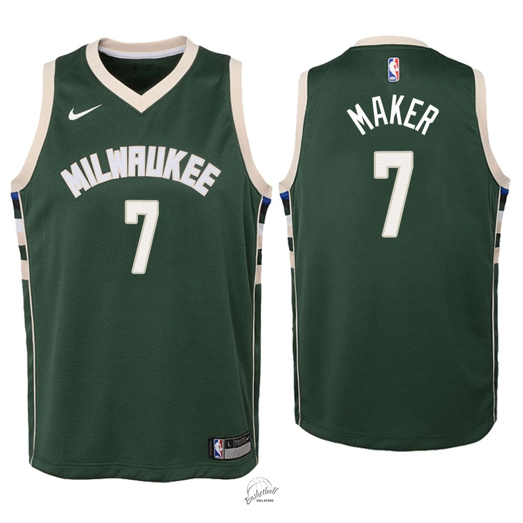 Choisir Maillot NBA Enfant Milwaukee Bucks NO.7 Thon Maker Vert Icon 2018