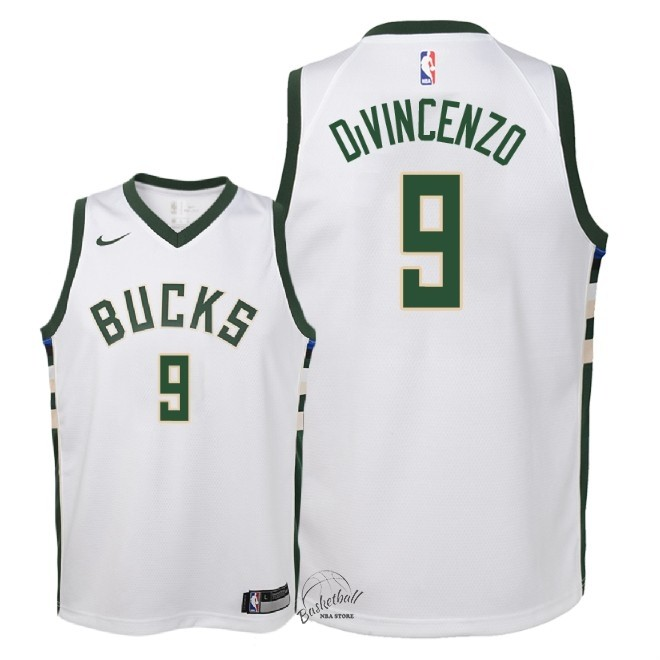 Choisir Maillot NBA Enfant Milwaukee Bucks NO.9 Donte DiVincenzo Blanc Association 2018