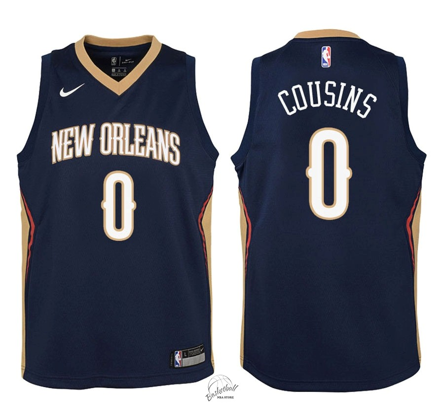 Choisir Maillot NBA Enfant New Orleans Pelicans NO.0 DeMarcus Cousins Marine Icon 2018
