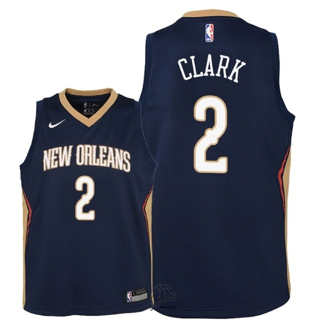 Choisir Maillot NBA Enfant New Orleans Pelicans NO.2 Ian Clark Marine Icon 2018