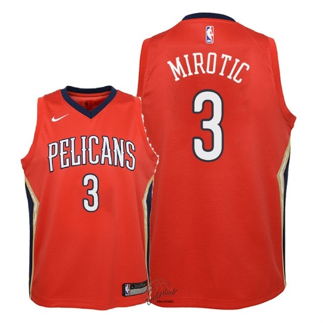 Choisir Maillot NBA Enfant New Orleans Pelicans NO.3 Nikola Mirotic Rouge Statement 2018
