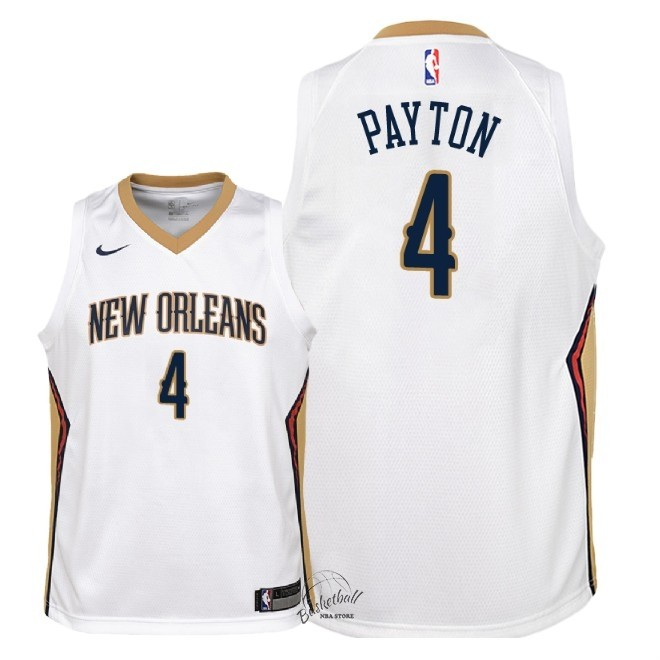 Choisir Maillot NBA Enfant New Orleans Pelicans NO.4 Elfrid Payton Blanc Association 2018