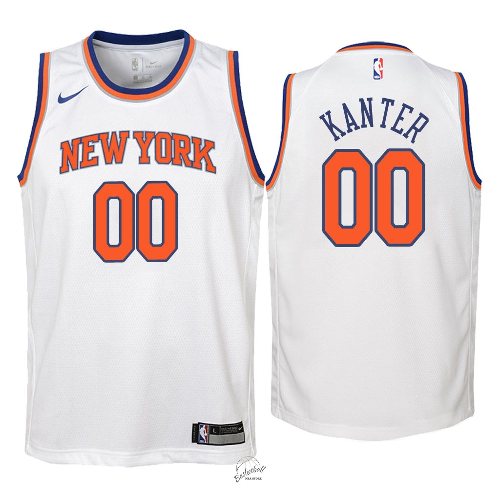 Choisir Maillot NBA Enfant New York Knicks NO.0 Enes Kanter Blanc Association 2018