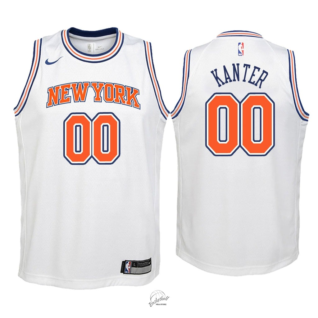 Choisir Maillot NBA Enfant New York Knicks NO.0 Enes Kanter Blanc Statement 2018