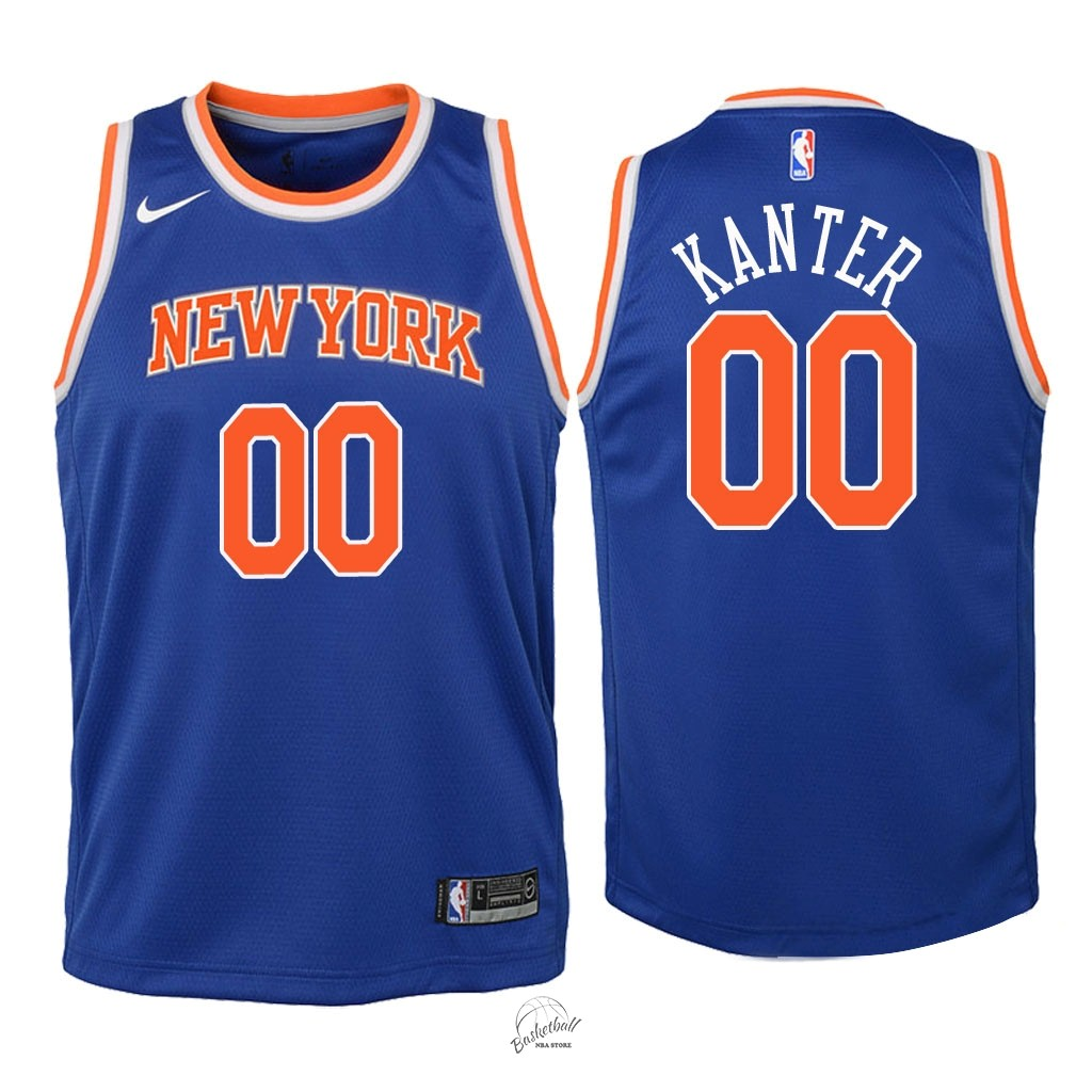 Choisir Maillot NBA Enfant New York Knicks NO.0 Enes Kanter Bleu Icon 2018