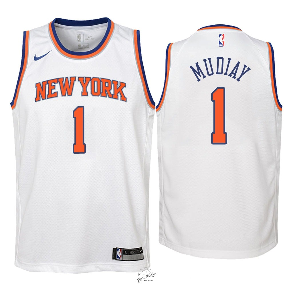 Choisir Maillot NBA Enfant New York Knicks NO.1 Emmanuel Mudiay Blanc Association 2018