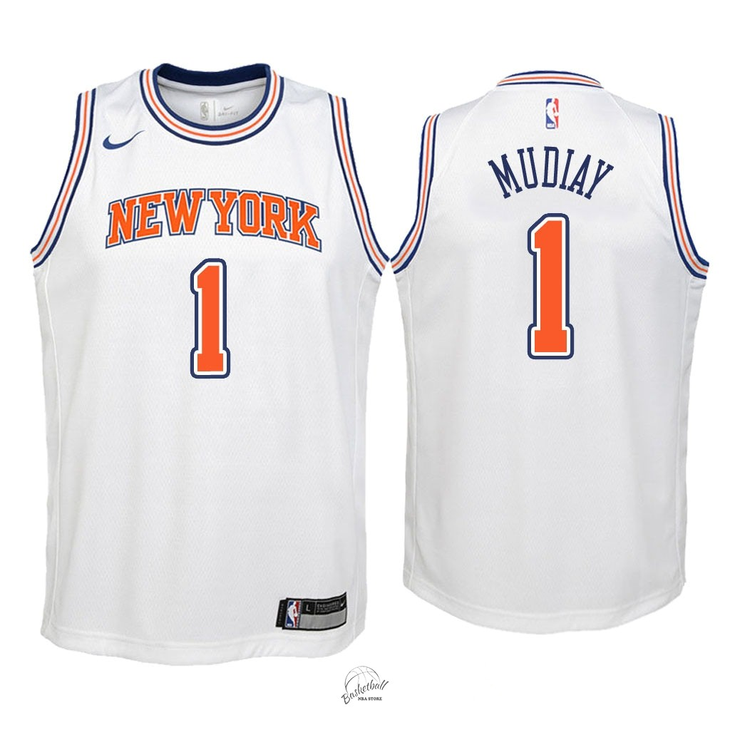 Choisir Maillot NBA Enfant New York Knicks NO.1 Emmanuel Mudiay Blanc Statement 2018