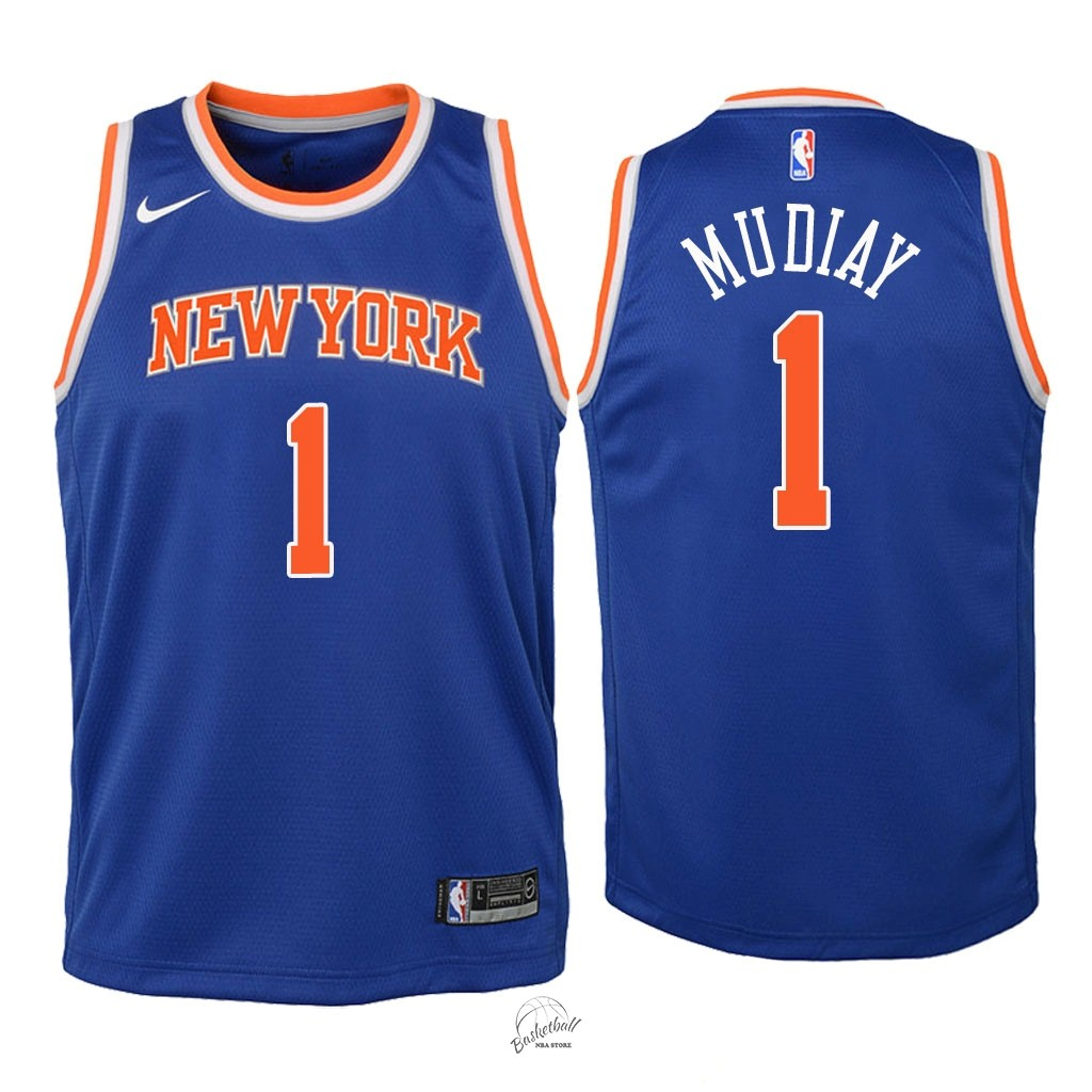 Choisir Maillot NBA Enfant New York Knicks NO.1 Emmanuel Mudiay Bleu Icon 2018