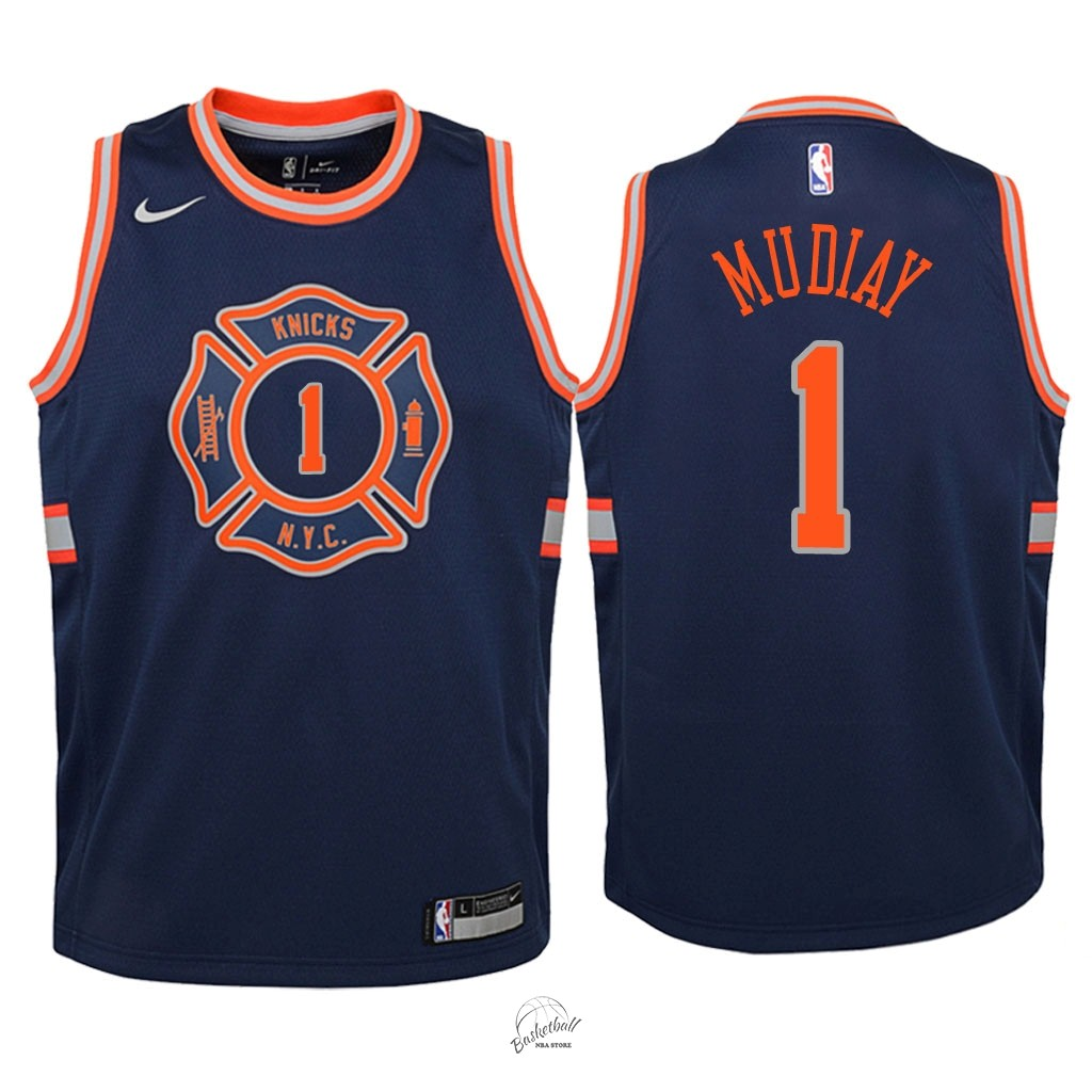 Choisir Maillot NBA Enfant New York Knicks NO.1 Emmanuel Mudiay Nike Marine Ville 2018