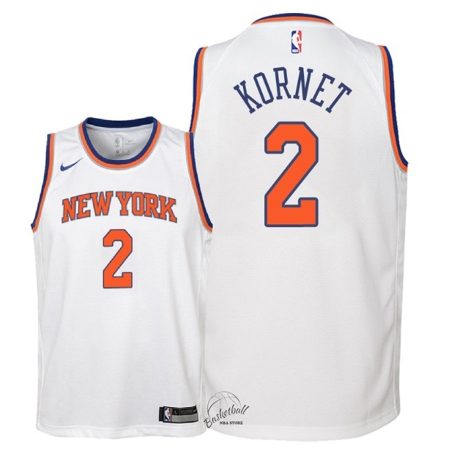 Choisir Maillot NBA Enfant New York Knicks NO.2 Luke Kornet Blanc Association 2018