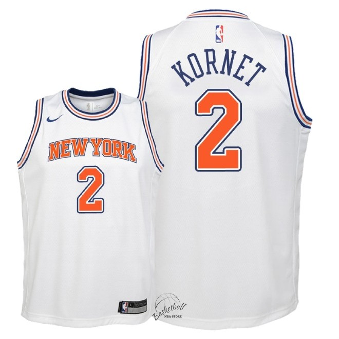 Choisir Maillot NBA Enfant New York Knicks NO.2 Luke Kornet Blanc Statement 2018