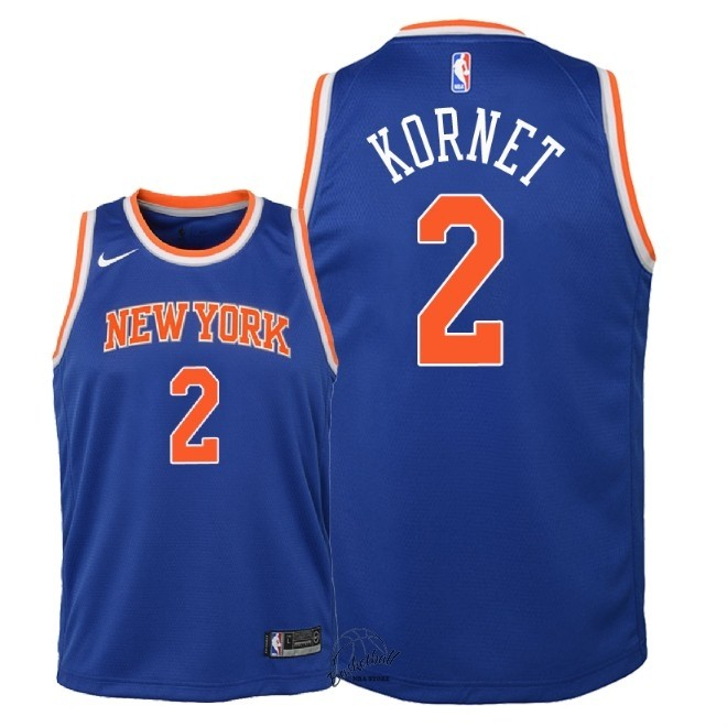 Choisir Maillot NBA Enfant New York Knicks NO.2 Luke Kornet Bleu Icon 2018