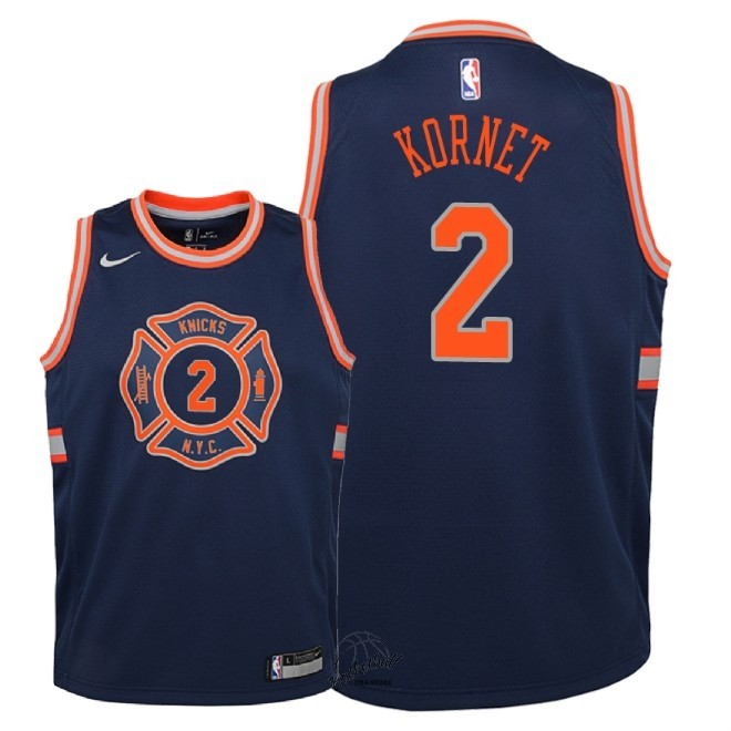 Choisir Maillot NBA Enfant New York Knicks NO.2 Luke Kornet Nike Marine Ville 2018