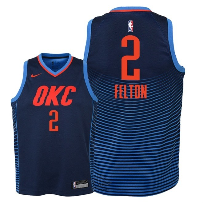 Choisir Maillot NBA Enfant Oklahoma City Thunder NO.2 Raymond Felton Marine Statement 2018