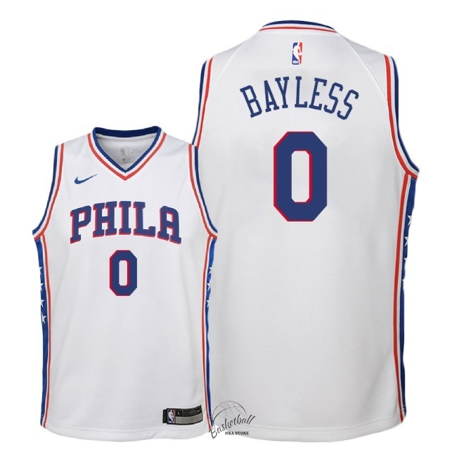 Choisir Maillot NBA Enfant Philadelphia Sixers NO.0 Jerryd Bayless Blanc Association 2018