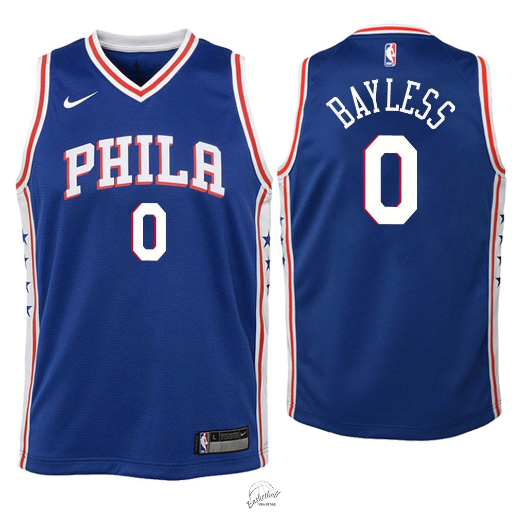 Choisir Maillot NBA Enfant Philadelphia Sixers NO.0 Jerryd Bayless Bleu Icon 2018