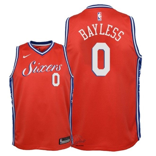 Choisir Maillot NBA Enfant Philadelphia Sixers NO.0 Jerryd Bayless Rouge Statement 2018