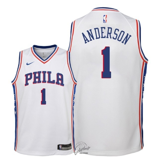 Choisir Maillot NBA Enfant Philadelphia Sixers NO.1 Justin Anderson Blanc Association 2018