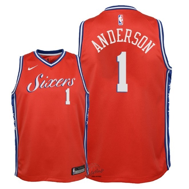 Choisir Maillot NBA Enfant Philadelphia Sixers NO.1 Justin Anderson Rouge Statement 2018