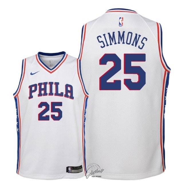 Choisir Maillot NBA Enfant Philadelphia Sixers NO.25 Ben Simmons Blanc Association 2018