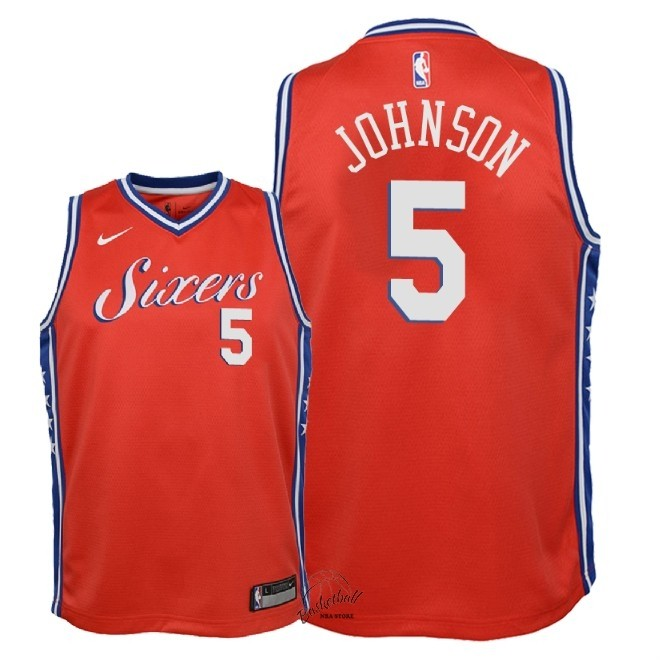 Choisir Maillot NBA Enfant Philadelphia Sixers NO.5 Amir Johnson Rouge Statement 2018