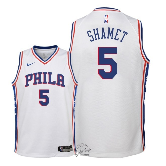 Choisir Maillot NBA Enfant Philadelphia Sixers NO.5 Landry Shamet Blanc Association 2018