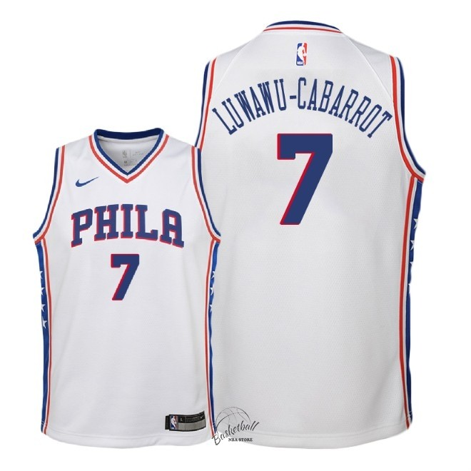 Choisir Maillot NBA Enfant Philadelphia Sixers NO.7 Timothe Luwawu Cabarrot Blanc Association 2018