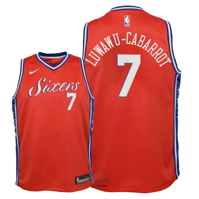 Choisir Maillot NBA Enfant Philadelphia Sixers NO.7 Timothe Luwawu Cabarrot Rouge Statement 2018