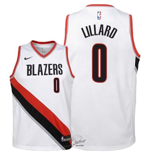 dbb4f860f80db Choisir Maillot NBA Enfant Portland Trail Blazers NO.0 Damian Lillard Blanc  Association 2018