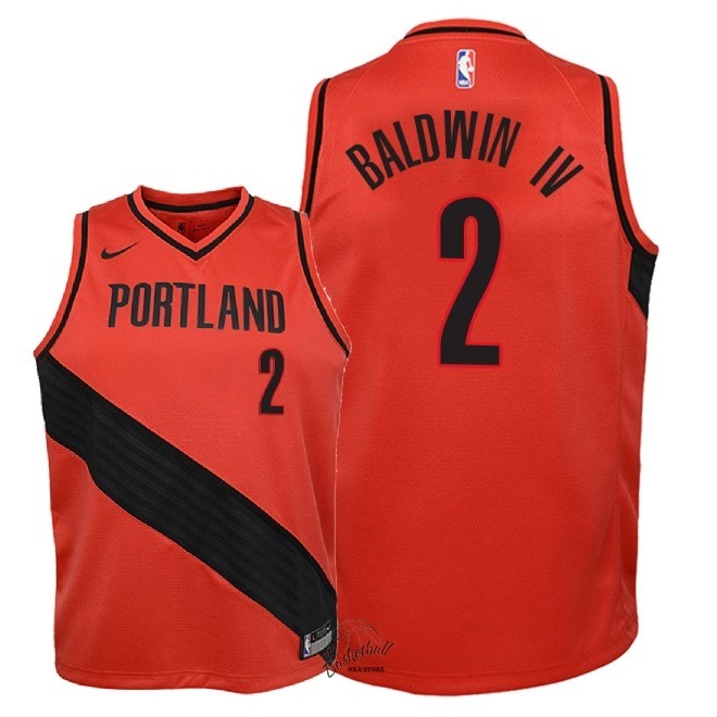 Choisir Maillot NBA Enfant Portland Trail Blazers NO.2 Wade Baldwin IV Rouge Statement 2018