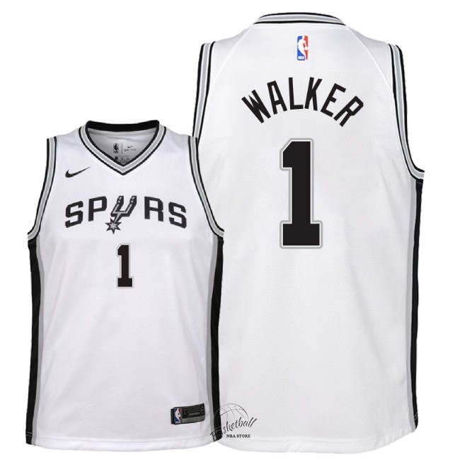 Choisir Maillot NBA Enfant San Antonio Spurs NO.1 Lonnie Walker Blanc Association 2018