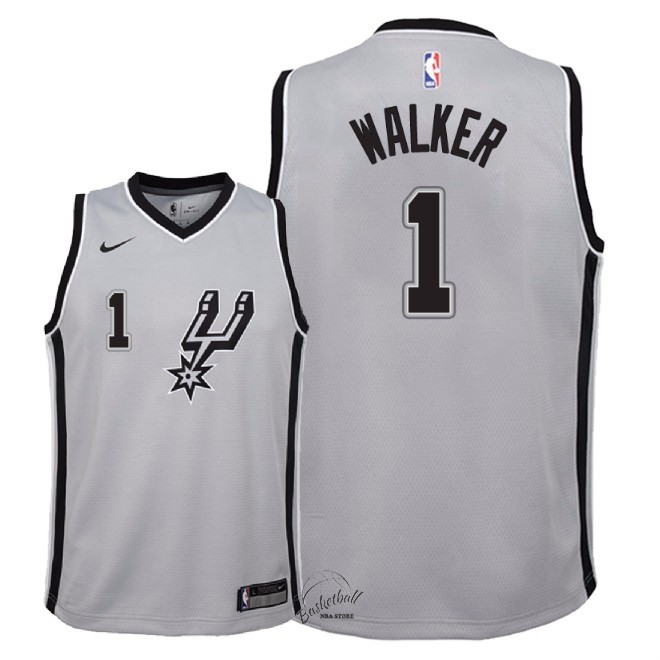 Choisir Maillot NBA Enfant San Antonio Spurs NO.1 Lonnie Walker Gris Statement 2018