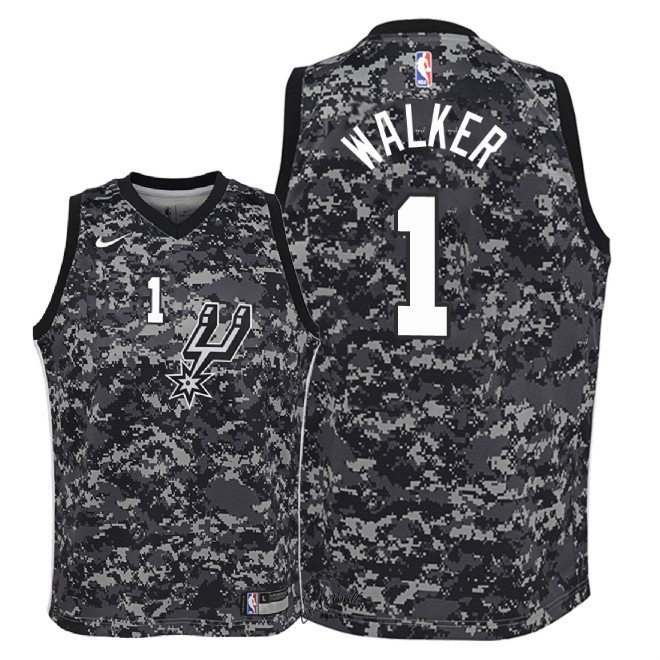 Choisir Maillot NBA Enfant San Antonio Spurs NO.1 Lonnie Walker Nike Camuflaje Ville 2018