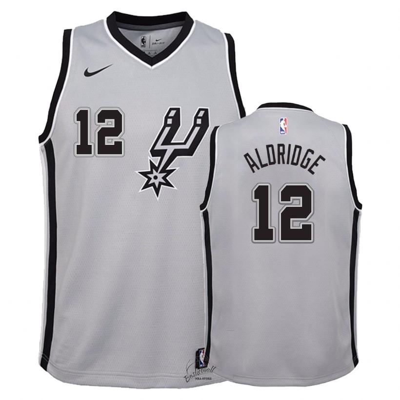 a79e403006236 Choisir Maillot NBA Enfant San Antonio Spurs NO.12 LaMarcus Aldridge Gris  Statement 2018