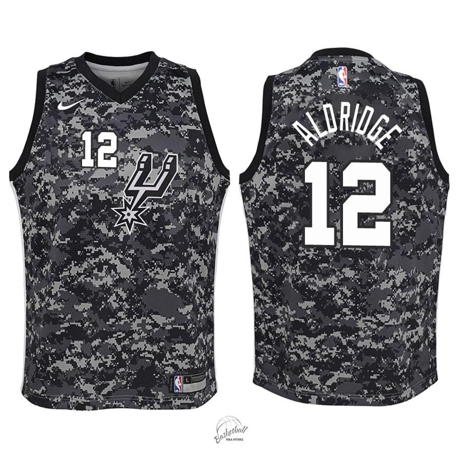 13d384c17ad2f Choisir Maillot NBA Enfant San Antonio Spurs NO.12 LaMarcus Aldridge Nike  Camuflaje Ville 2018