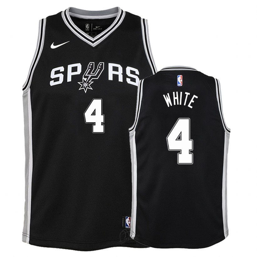 Choisir Maillot NBA Enfant San Antonio Spurs NO.4 Derrick White Noir Icon 2018