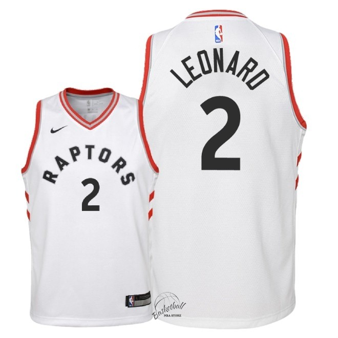 Choisir Maillot NBA Enfant Toronto Raptors NO.2 Kawhi Leonard Blanc Association 2018