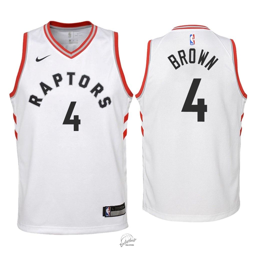 Choisir Maillot NBA Enfant Toronto Raptors NO.4 Lorenzo Brown Blanc Association 2018