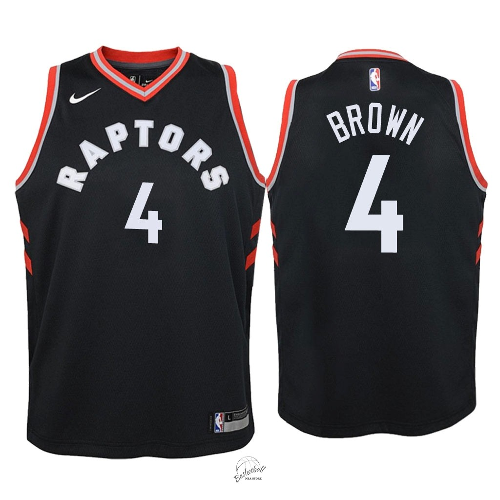 Choisir Maillot NBA Enfant Toronto Raptors NO.4 Lorenzo Brown Noir Statement 2018