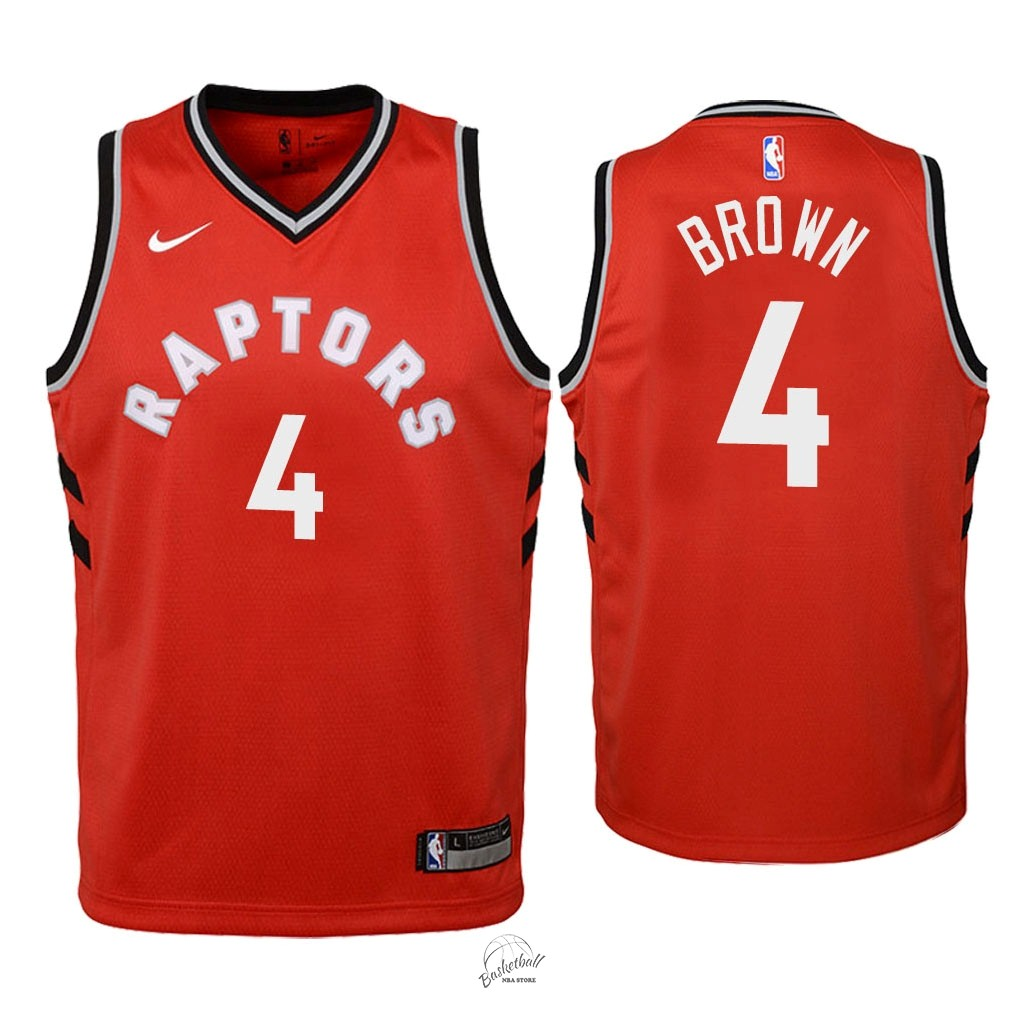 Choisir Maillot NBA Enfant Toronto Raptors NO.4 Lorenzo Brown Rouge Icon 2018