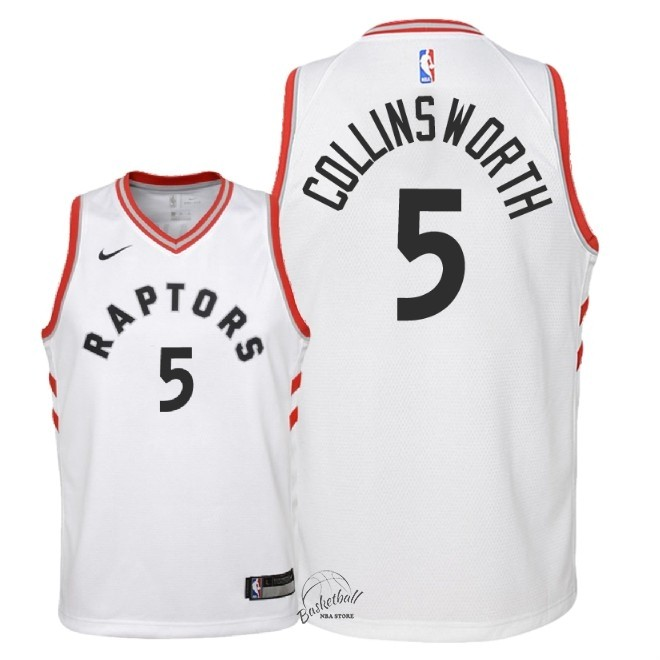 Choisir Maillot NBA Enfant Toronto Raptors NO.5 Kyle Collinsworth Blanc Association 2018