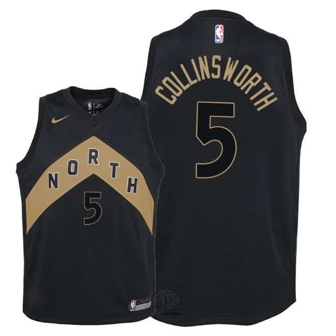 Choisir Maillot NBA Enfant Toronto Raptors NO.5 Kyle Collinsworth Nike Noir Ville 2018