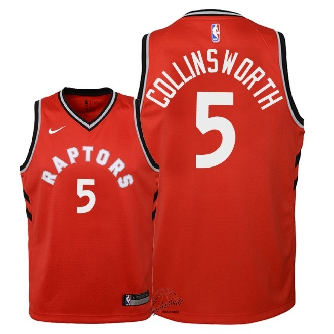 Choisir Maillot NBA Enfant Toronto Raptors NO.5 Kyle Collinsworth Rouge Icon 2018